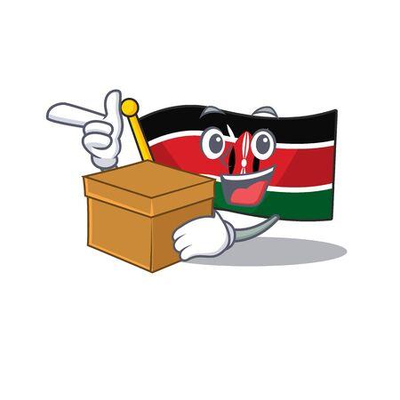 Flag kenya isolated with bring box mascot on cartoon vector illustration