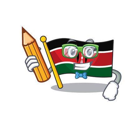 Flag kenya isolated student holding pencil mascot on cartoon vector illustration Illusztráció