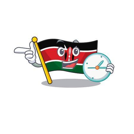 Flag kenya isolated with bring clock mascot on cartoon vector illustration