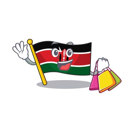 Flag kenya isolated shopping mascot on cartoon vector illustration