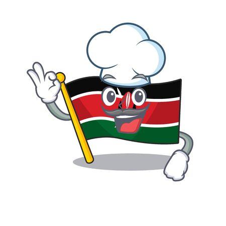 Flag kenya isolated chef mascot on cartoon vector illustration Illusztráció