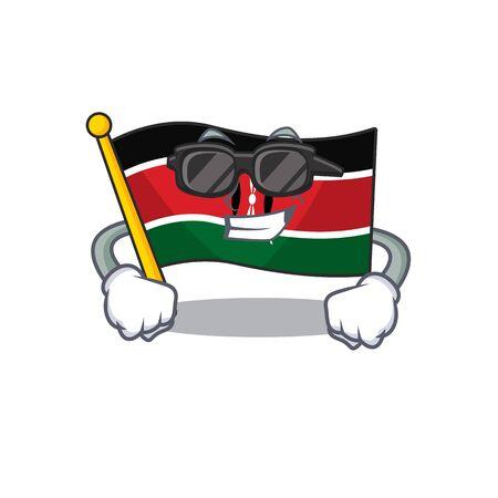 Flag kenya isolated super cool mascot on cartoon vector illustration Illusztráció