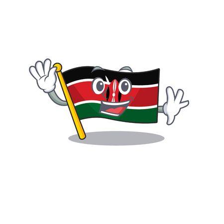 Flag kenya isolated waving mascot on cartoon Illusztráció