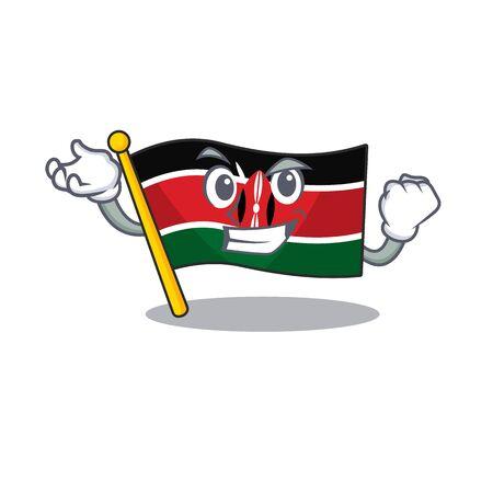 Flag kenya isolated successful mascot on cartoon
