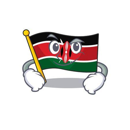 Flag kenya isolated smirking mascot on cartoon