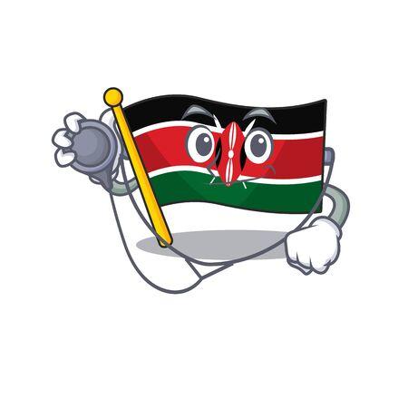 Flag kenya doctor cartoon with character happy