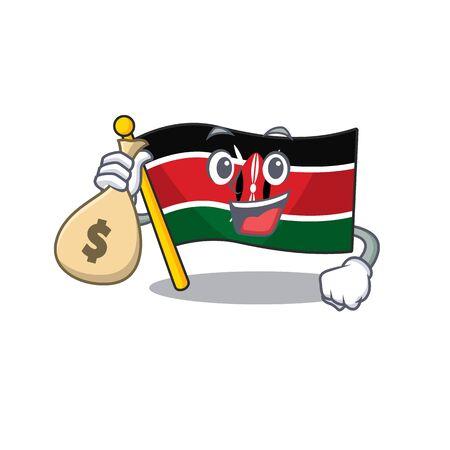 Flag kenya holding money bag cartoon with character happy 일러스트