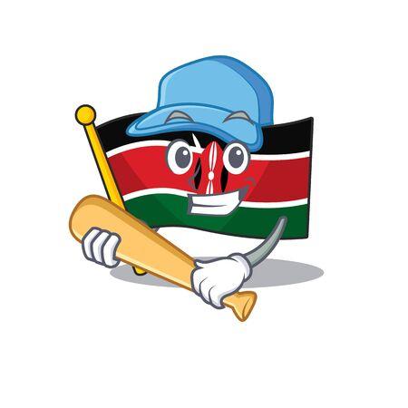 Flag kenya playing baseball cartoon with character happy
