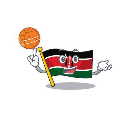 Flag kenya holding basketball cartoon with character happy Illusztráció