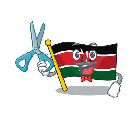 Flag kenya barber cartoon with character happy