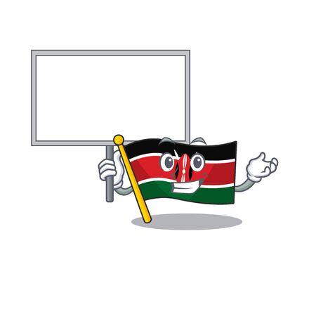 Flag kenya bring board cartoon with character happy