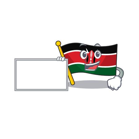 Flag kenya with board cartoon with character happy