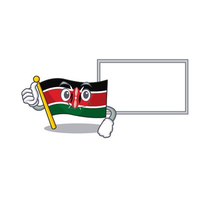 Flag kenya thumbs up with board cartoon with character happy