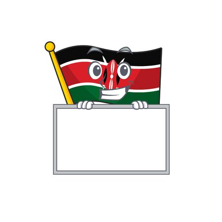 Flag kenya grinning with board cartoon with character happy