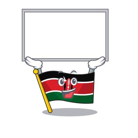 Flag kenya up board cartoon with character happy