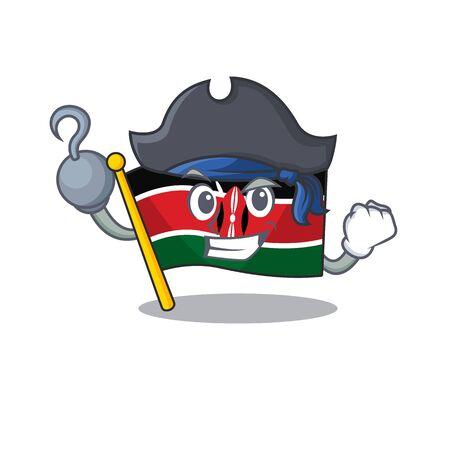 Flag kenya pirate cartoon with character happy Illusztráció