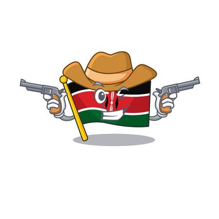 Flag kenya cowboy cartoon with character happy