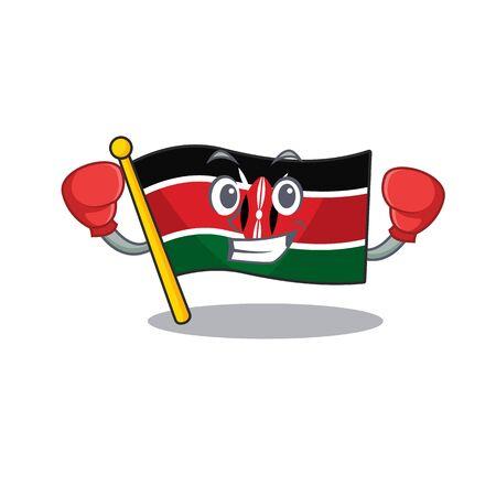 Flag kenya boxing cartoon with character happy Illusztráció