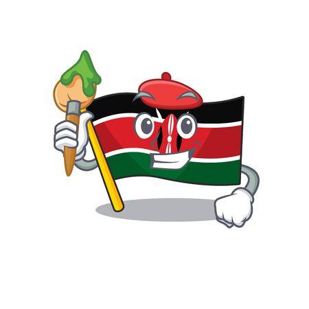 Flag kenya painter cartoon with character happy