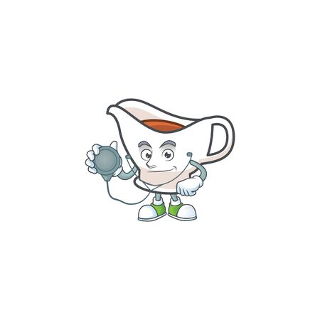 Gravy boat cartoon character with mascot doctor. Vector illustration
