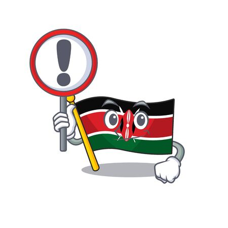 Flag kenya with sign warning cartoon with character happy