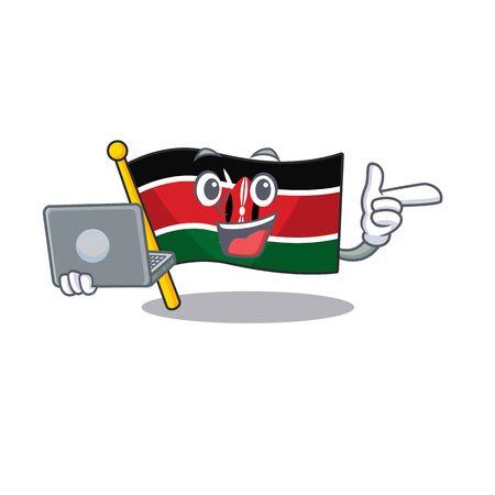 Flag kenya with bring laptop cartoon with character happy Illusztráció