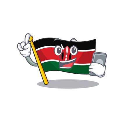 Flag kenya with holding phone cartoon with character happy