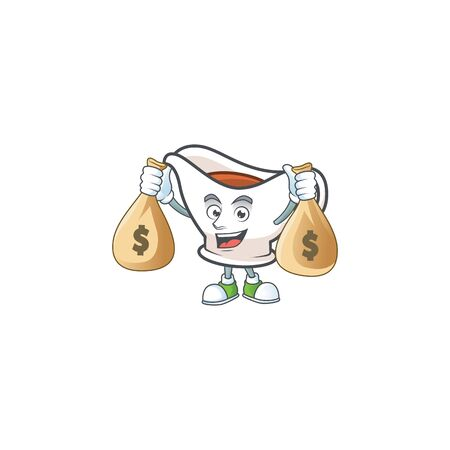 Gravy boat cartoon character with mascot holding money bag. Vector illustration