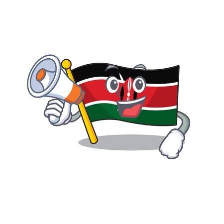 Flag kenya with holding megaphone cartoon with character happy Illusztráció