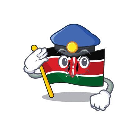 Flag kenya police cartoon with character happy