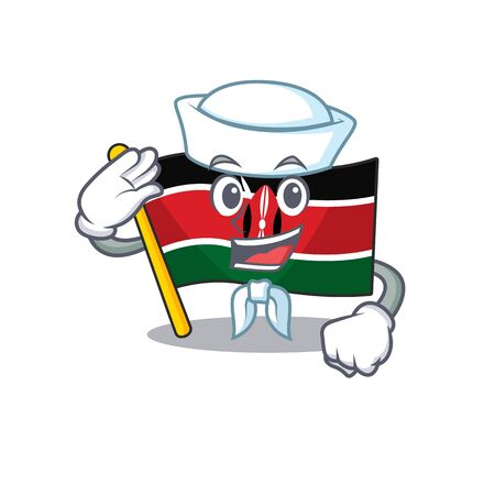 Flag kenya sailor cartoon with character happy