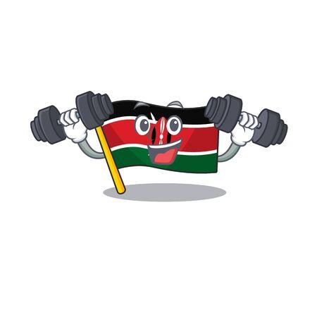 Flag kenya with bring barbell cartoon with character happy Illusztráció