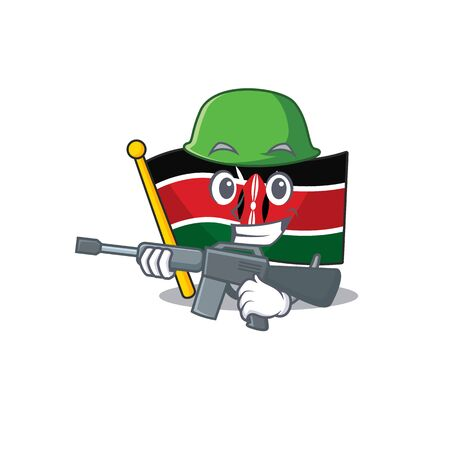 Flag kenya army cartoon with character happy