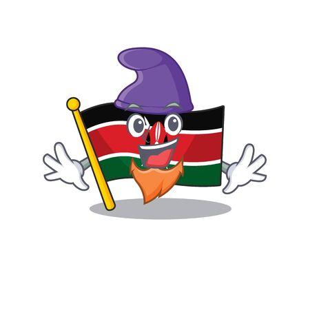 Flag kenya elf cartoon with character happy Illusztráció
