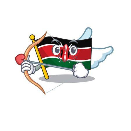 Flag kenya cupid cartoon with character happy
