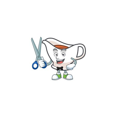 Gravy boat cartoon character with mascot barber. Vector illustration