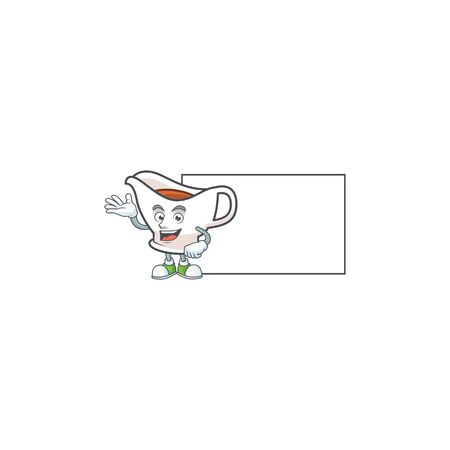 Gravy boat cartoon character with mascot with board. Vector illustration