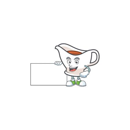 Gravy boat cartoon character with mascot grinning with board. Vector illustration
