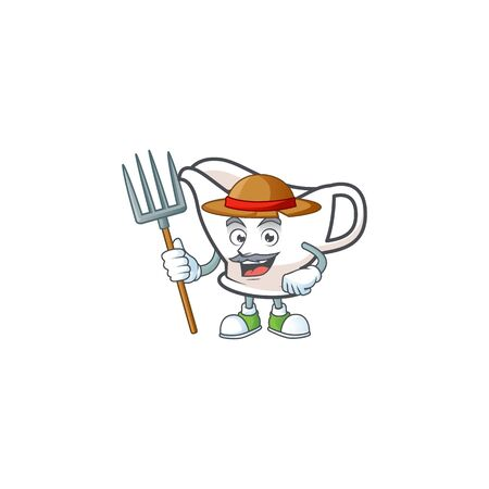 Gravy boat cartoon character with mascot farmer. Vector illustration Çizim