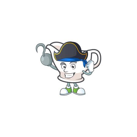 Gravy boat cartoon character with mascot pirate. Vector illustration
