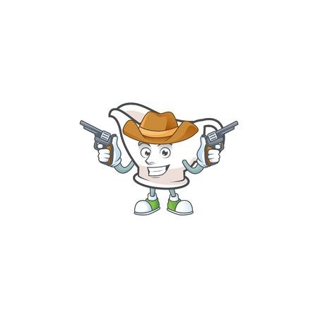 Gravy boat cartoon character with mascot cowboy. Vector illustration