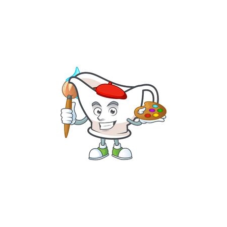 Gravy boat cartoon character with mascot painter. Vector illustration