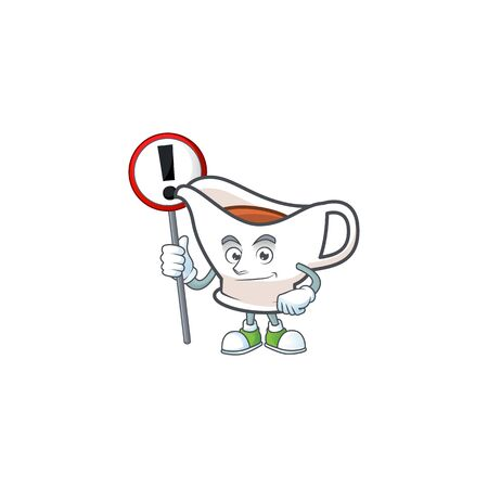 Gravy boat cartoon character with mascot with sign warning. Vector illustration