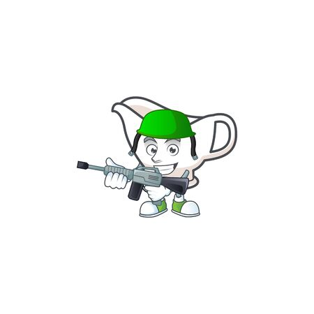 Gravy boat cartoon character with mascot army. Vector illustration Çizim