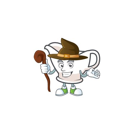 Gravy boat for dish with witch mascot. Vector illustration