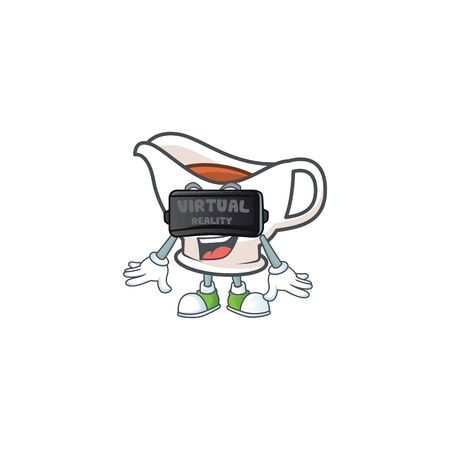Gravy boat for dish with virtual reality mascot. Vector illustration
