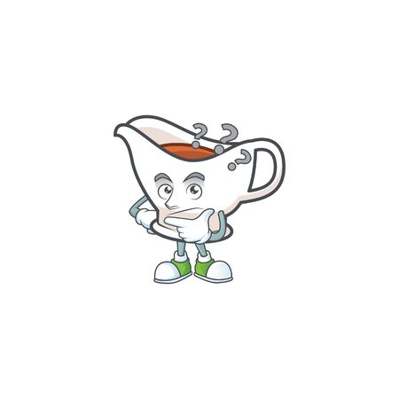 Gravy boat for dish with thinking mascot. Vector illustration