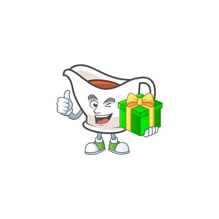 Gravy boat for dish with holding gift mascot. Vector illustration