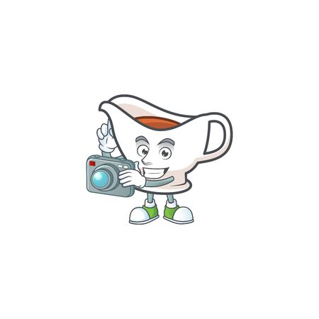 Gravy boat for dish with photographer mascot. Vector illustration