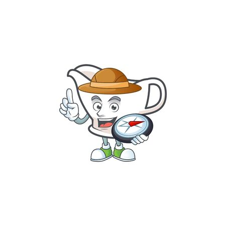 Gravy boat for dish with holding compass mascot. Vector illustration Çizim